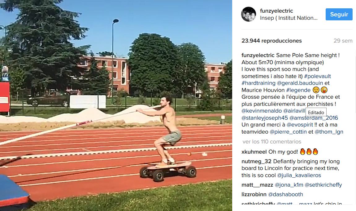 Nueva modalidad atlética: Pértiga con skate